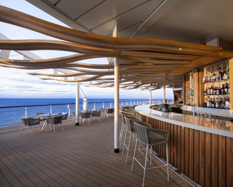 """In collaboration with renowned New York hospitality design firm BG Studio International, a longtime partner of Celebrity Cruises, the brand revealed a """"revolutionized"""" Sunset Bar."""