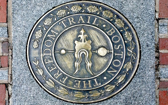The marker for the Freedom Trail