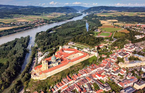 The Famous Melk Donau Monastery on the Danube River