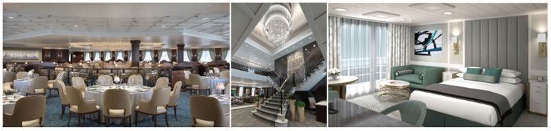 Renderings from left to right: Grand Dining Room, Grand Staircase and Penthouse Suite of the reimagined Regatta-Class ships