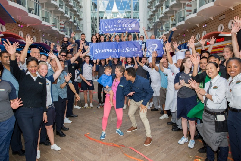 """Actors and avid Royal Caribbean fans Carlos and Alexa PenaVega, along with their 17-month-old son, Ocean, have accepted the honor to be Godfamily of the cruise line's newest ship, Symphony of the Seas. Royal Caribbean """"popped the question"""