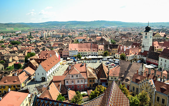 Aerial View of Sibiu, Romania
